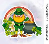 st. patrick day square greeting ... | Shutterstock .eps vector #1023850933