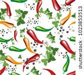 red  yellow and green chili... | Shutterstock .eps vector #1023853513