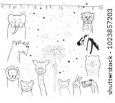 animal cartoon set isolated on... | Shutterstock .eps vector #1023857203
