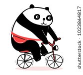 cute cartoon panda rides a... | Shutterstock .eps vector #1023864817