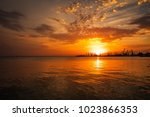 beautiful landscape with fiery...   Shutterstock . vector #1023866353