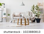 wooden table with decorative... | Shutterstock . vector #1023880813