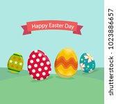 easter eggs background   Shutterstock .eps vector #1023886657