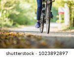 Woman Riding A Bicycle Outdoor...