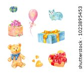 set of birthday gifts. teddy... | Shutterstock . vector #1023895453