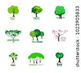 tree logotypes set template | Shutterstock .eps vector #1023905833