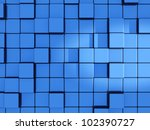 Abstract Blue Cubes Background...