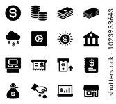 solid vector icon set   dollar... | Shutterstock .eps vector #1023933643