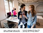 group of successful architects... | Shutterstock . vector #1023942367