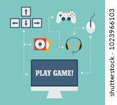 vector online and mobile game...   Shutterstock .eps vector #1023966103