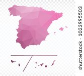 pink map polygonal spain... | Shutterstock .eps vector #1023995503