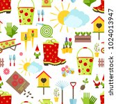 spring and gardening seamless... | Shutterstock .eps vector #1024013947