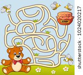 help bear find path to honey.... | Shutterstock .eps vector #1024020217