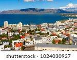 aerial view of  reykjavik   ... | Shutterstock . vector #1024030927