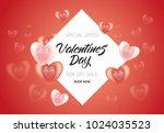 vector happy valentines day... | Shutterstock .eps vector #1024035523