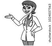 female doctor illustration   a... | Shutterstock .eps vector #1024037563