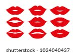 beautiful red lips icons... | Shutterstock .eps vector #1024040437