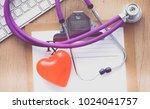 stethoscope on laptop keyboard. ...   Shutterstock . vector #1024041757