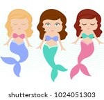 mermaid character set  ... | Shutterstock .eps vector #1024051303