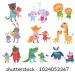 Stock vector cartoon set of cute animal family portraits cats elephants lions bunnies foxes giraffes 1024053367