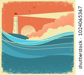 sea waves with lighthouse... | Shutterstock .eps vector #1024065367