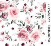 Stock photo seamless pattern with spring flowers and leaves hand drawn background floral pattern for 1024091647