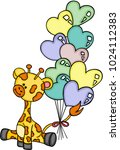 cute giraffe sitting with heart ... | Shutterstock .eps vector #1024112383