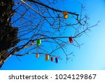 colorful lamps on the tree. | Shutterstock . vector #1024129867