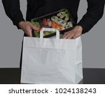 sushi set on plastic container... | Shutterstock . vector #1024138243