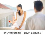 attractive woman drinking... | Shutterstock . vector #1024138363