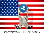 ripple  xrp  coin being... | Shutterstock . vector #1024143517