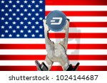 dash coin being squeezed in... | Shutterstock . vector #1024144687