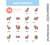 farm animals   line design... | Shutterstock .eps vector #1024144843