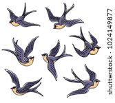 set of flying swallows. free... | Shutterstock .eps vector #1024149877