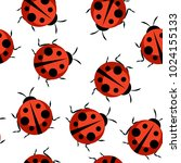 cute ladybug seamless pattern... | Shutterstock .eps vector #1024155133
