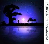 vector illustration of a sunset ... | Shutterstock .eps vector #1024155817