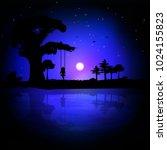 vector illustration of a sunset ... | Shutterstock .eps vector #1024155823
