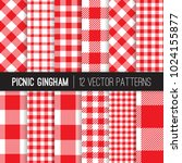 red and white picnic tablecloth ... | Shutterstock .eps vector #1024155877
