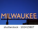 Red Milwaukee sign in downtown of the city - stock photo