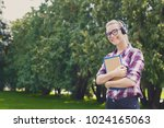 attractive kind smiling student ... | Shutterstock . vector #1024165063
