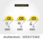 three yellow infographic arcs... | Shutterstock .eps vector #1024171363