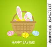 colorful easter eggs and rabbit ... | Shutterstock . vector #1024173163