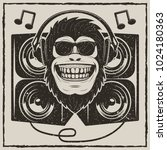 funny monkey in sunglasses... | Shutterstock .eps vector #1024180363