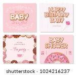 baby shower cards set for girls.... | Shutterstock .eps vector #1024216237