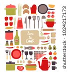 set with hand draw cooking...   Shutterstock .eps vector #1024217173