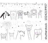 animal cartoon set isolated on... | Shutterstock .eps vector #1024219957