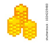 pixel art golden coin retro... | Shutterstock .eps vector #1024225483