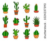 cactus decorative home plant in ... | Shutterstock .eps vector #1024237393