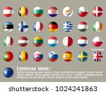 european union flags. glossy... | Shutterstock .eps vector #1024241863
