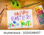 easter greeting card with... | Shutterstock . vector #1024248457